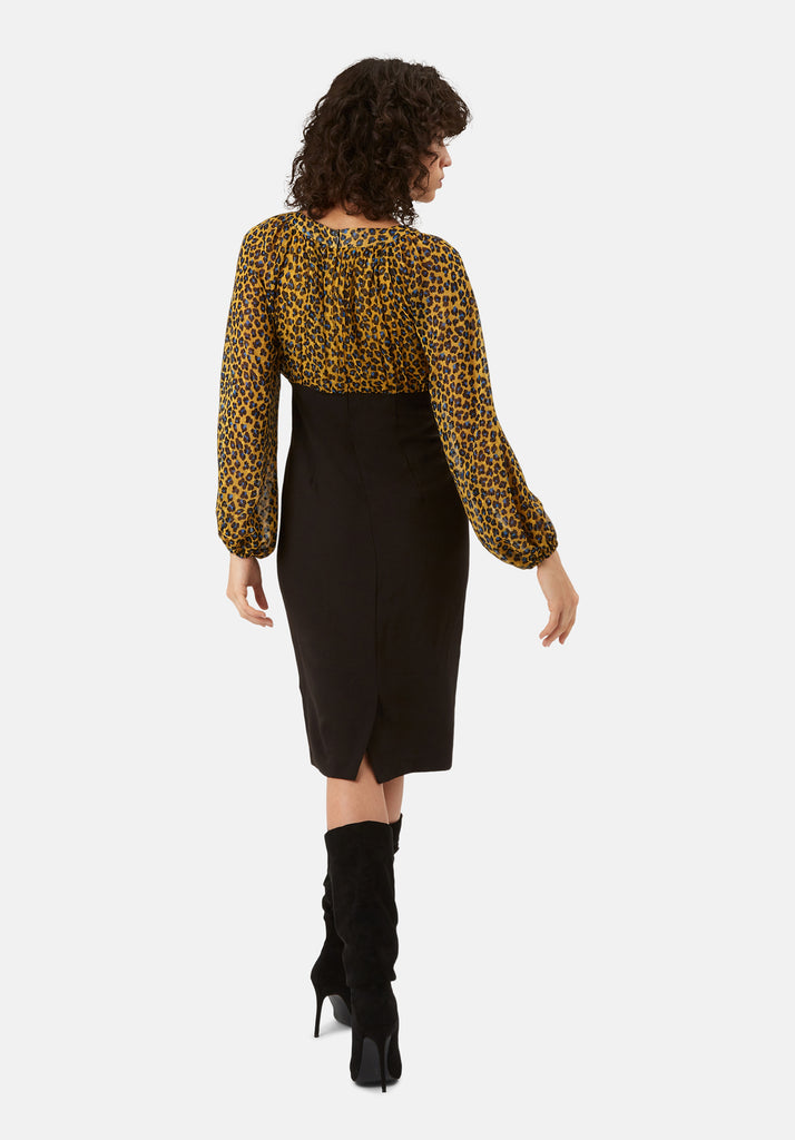 Traffic People Wiggle and Wave Animal Print Pencil Midi Dress in Mustard Side View Image