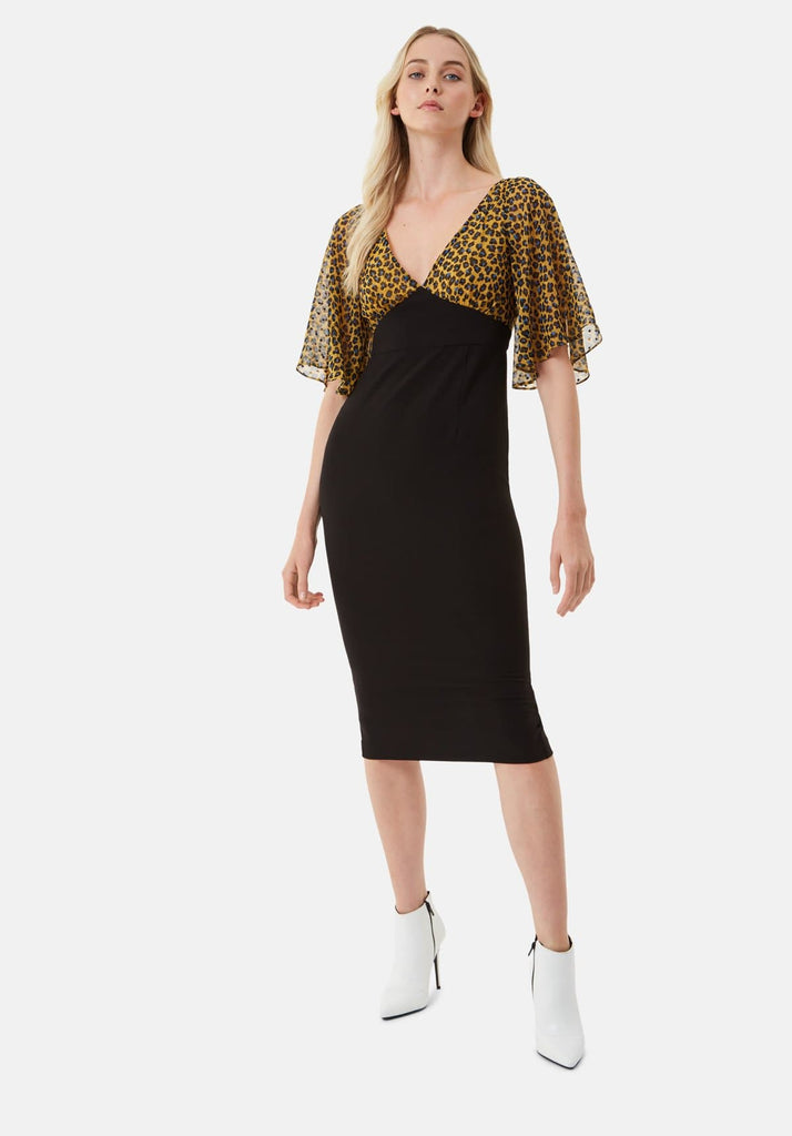 Traffic People Wiggle and Smile Animal Print Midi Dress in Mustard Back View Image