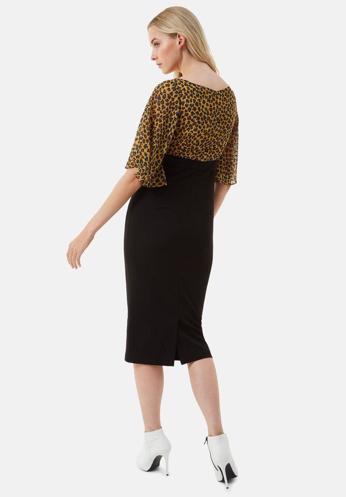 Traffic People Wiggle and Smile Animal Print Midi Dress in Mustard Side View Image
