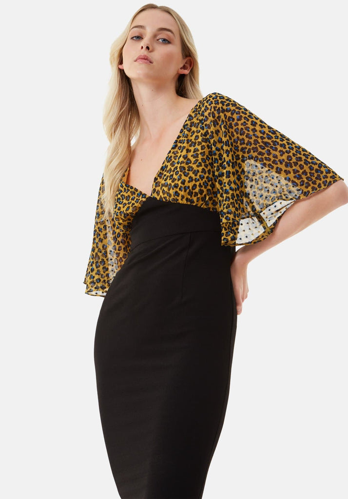 Traffic People Wiggle and Smile Animal Print Midi Dress in Mustard Front View Image
