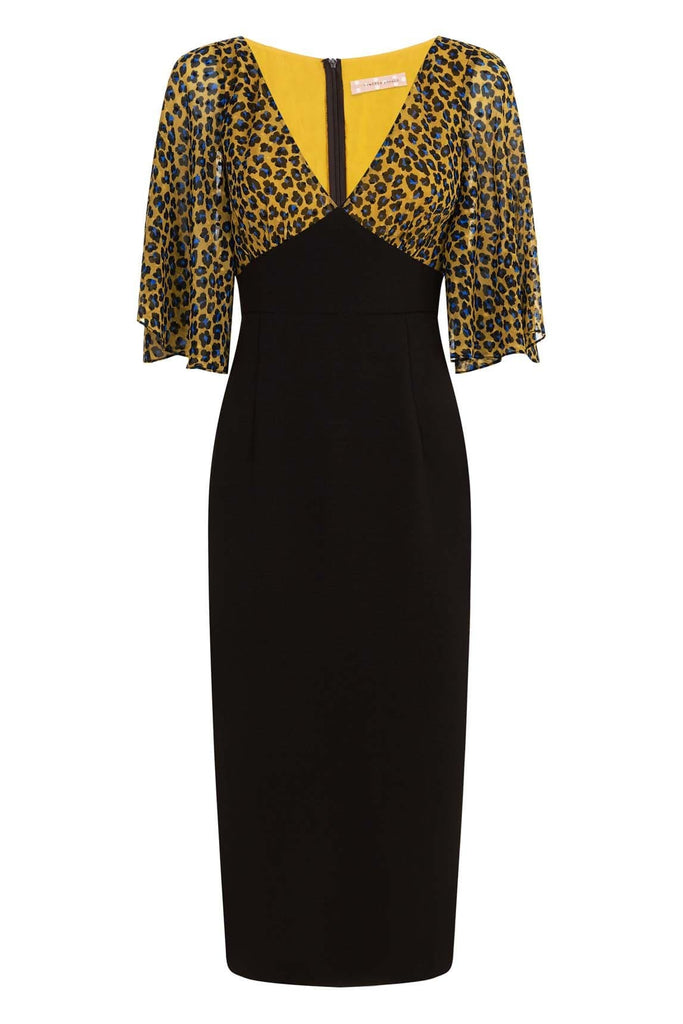 Traffic People Wiggle and Smile Animal Print Midi Dress in Mustard FlatShot Image
