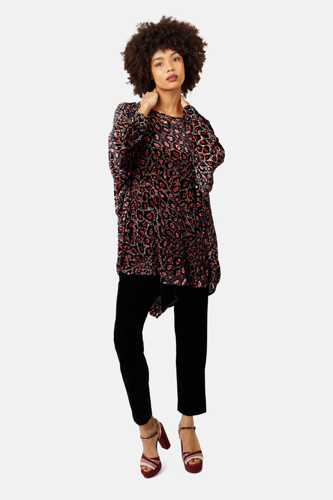 Traffic People Animal Print Batwing Asymmetric Top in Pink Side View Image