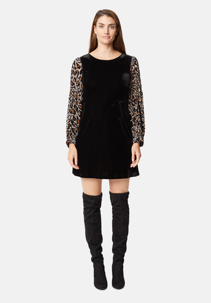 Traffic People Colby Mini Shift Dress in Black and Gold Close Up Image
