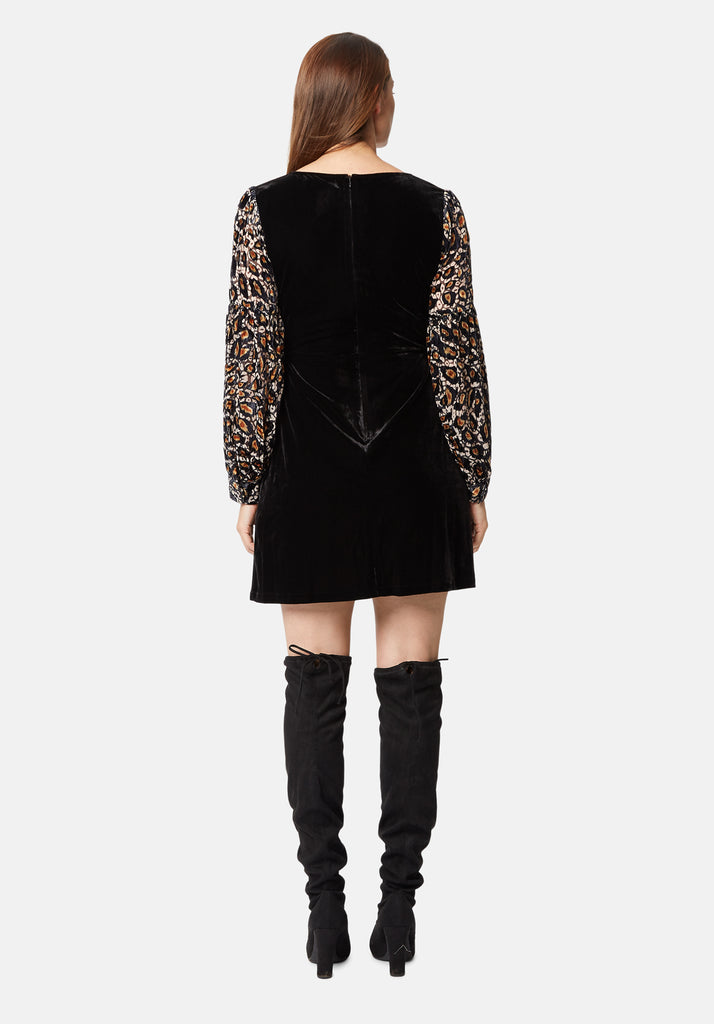 Traffic People Colby Mini Shift Dress in Black and Gold Back View Image