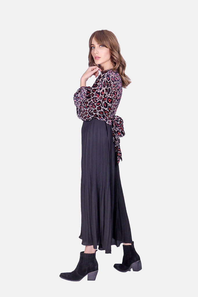 Traffic People Caution Long Sleeve Midi Dress in Pink Leopard Print Back View Image