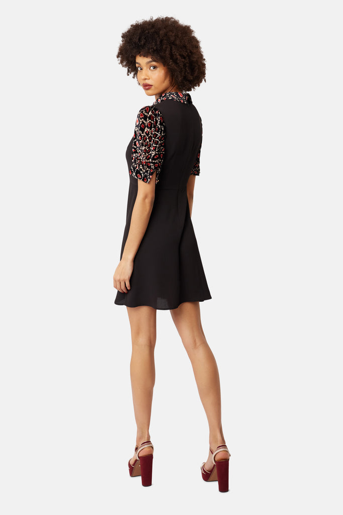 Traffic People Animal Print Grace Mini Dress in Pink Back View Image