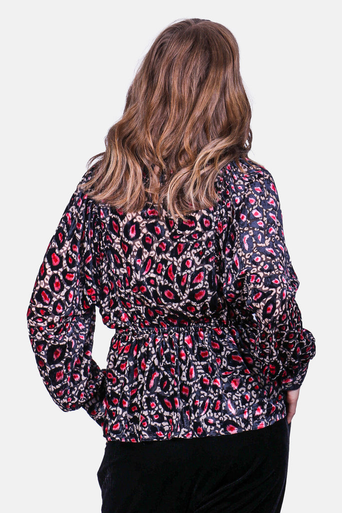 Traffic People Burning Fragments Smock Top in Pink Leopard Print Back View Image