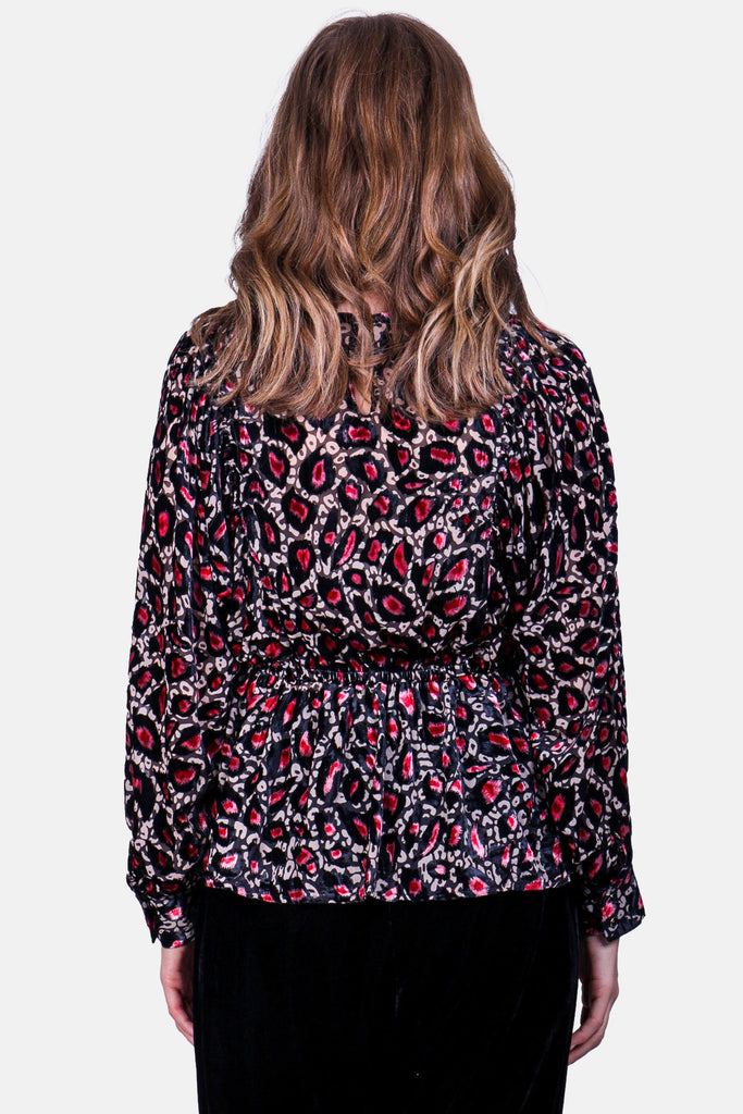 Traffic People Burning Fragments Smock Top in Pink Leopard Print Front View Image