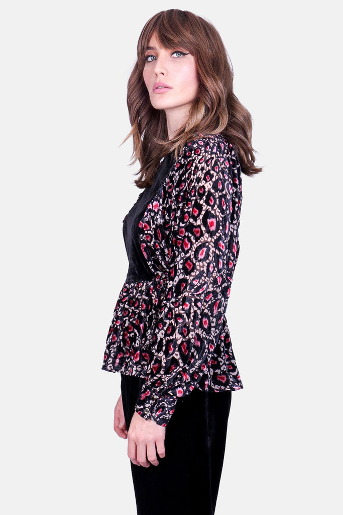 Traffic People Burning Fragments Smock Top in Pink Leopard Print Close Up Image