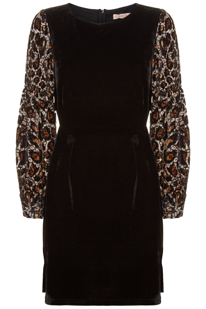 Traffic People Colby Mini Shift Dress in Black and Gold FlatShot Image