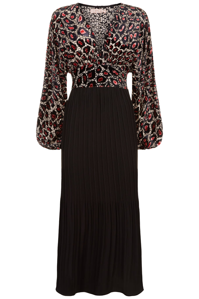 Traffic People Caution Long Sleeve Midi Dress in Pink Leopard Print FlatShot Image