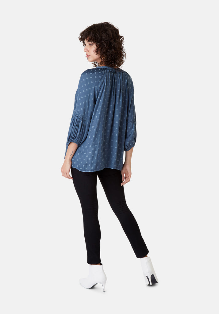Traffic People Folklore 3/4 Sleeve Polka Dot Top in Blue Close Up Image