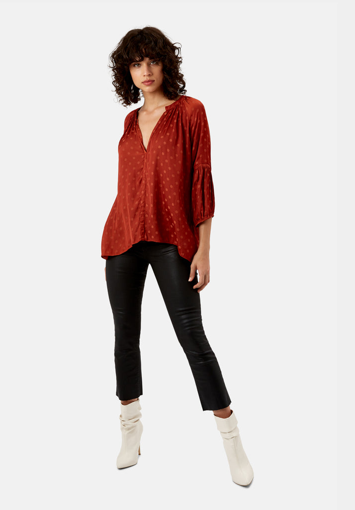 Traffic People Folklore Polka Dot Top in Rust Side View Image