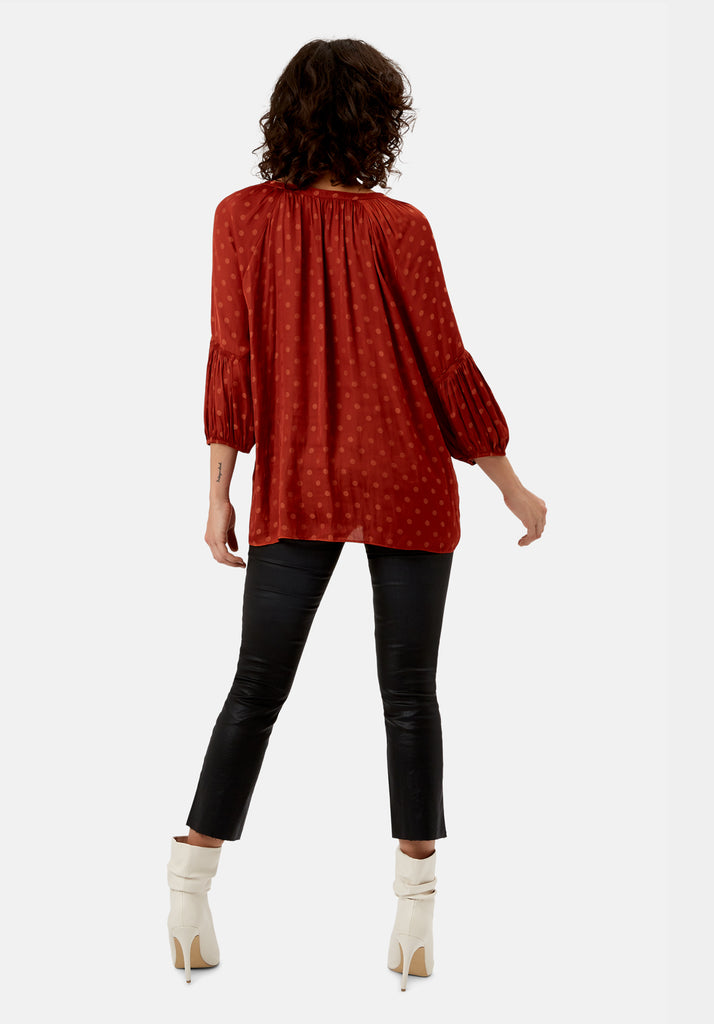 Traffic People Folklore Polka Dot Top in Rust Back View Image