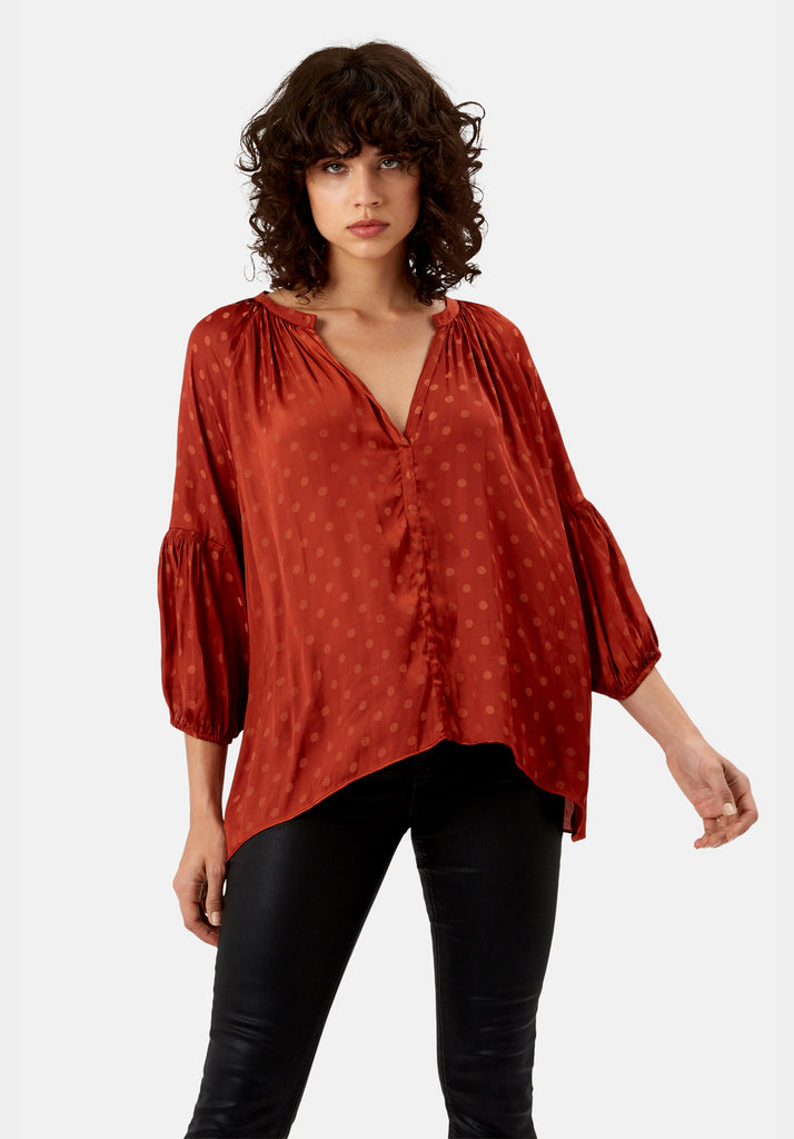 Traffic People Folklore Polka Dot Top in Rust Front View Image