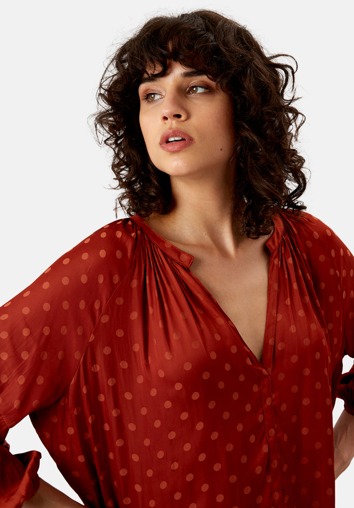 Traffic People Folklore Polka Dot Top in Rust Close Up Image