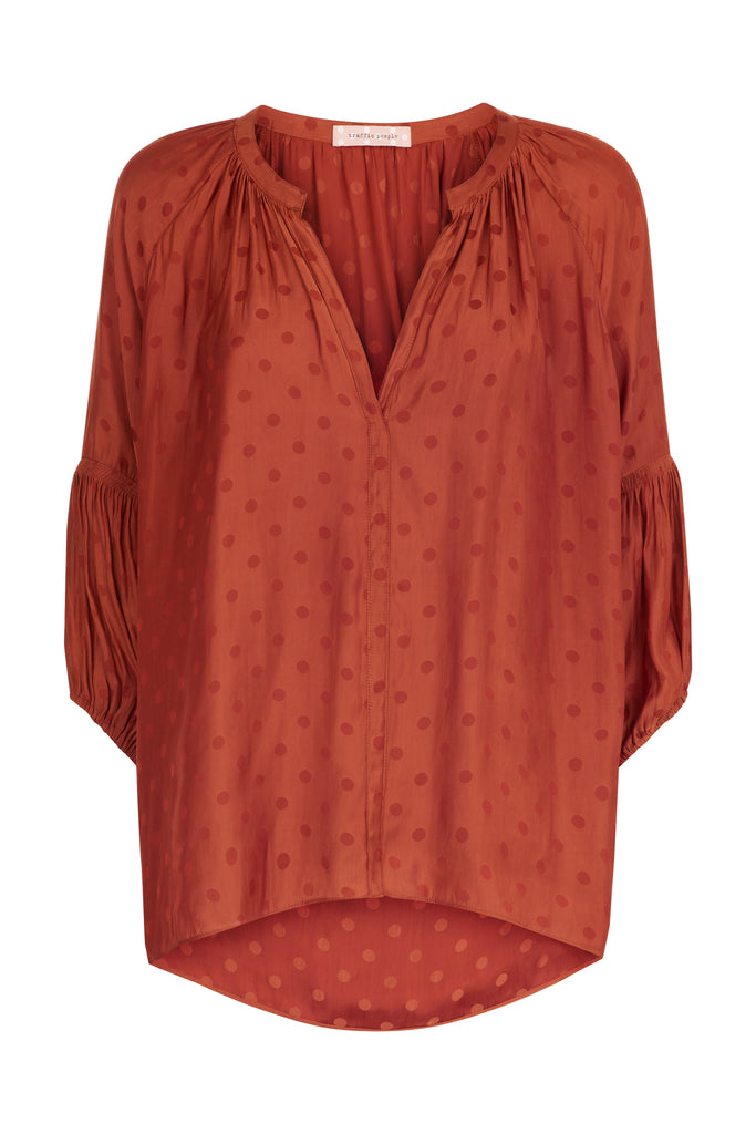 Traffic People Folklore Polka Dot Top in Rust FlatShot Image