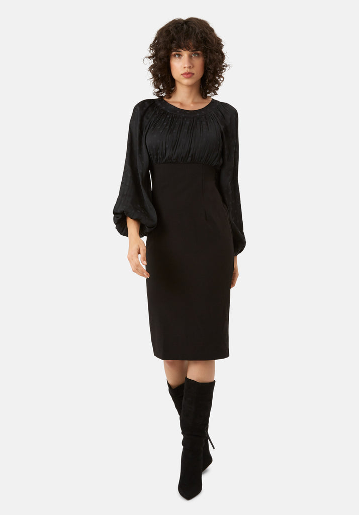 Traffic People Wiggle and Wave Polka Dot Long Sleeve Midi Dress in Black Front View Image