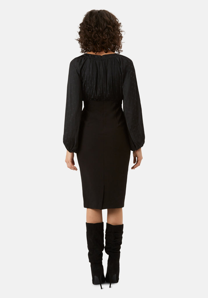 Traffic People Wiggle and Wave Polka Dot Long Sleeve Midi Dress in Black Back View Image