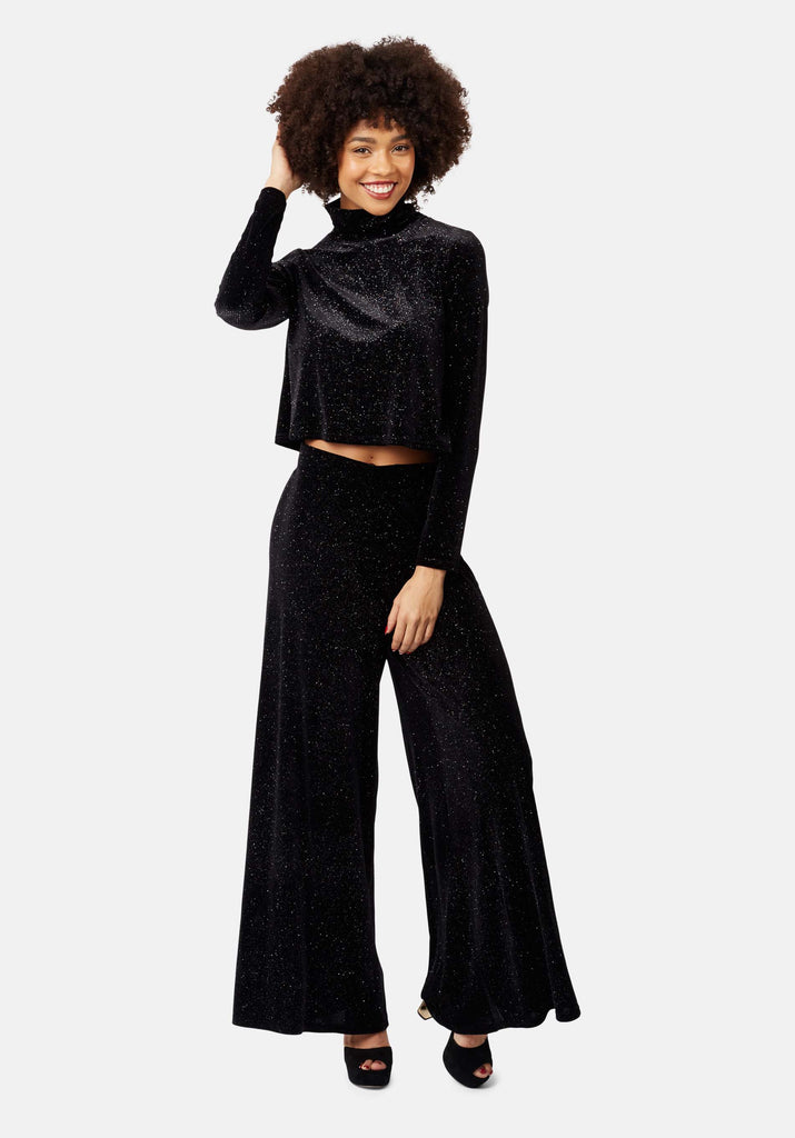 Broken Strings Cropped Velvet Top in Black