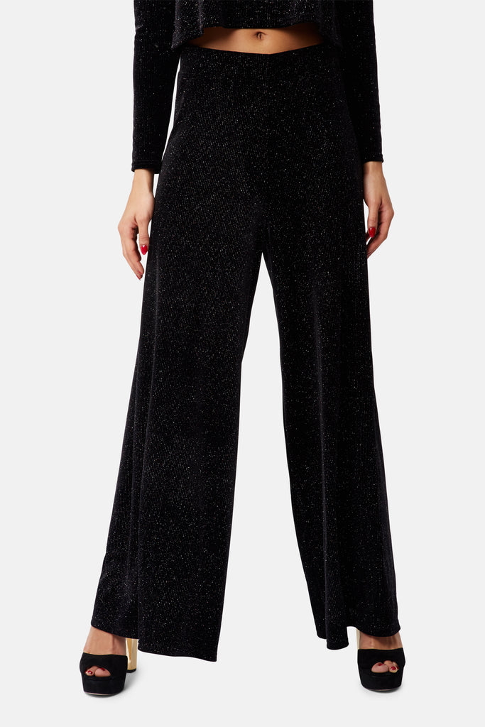 Traffic People Wide Leg Broken String Velvet Trousers in Black Front View Image