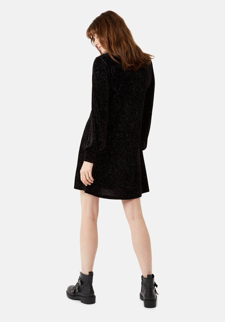Traffic People Broken String Velvet Long Sleeve Tunic Dress in Black Side View Image