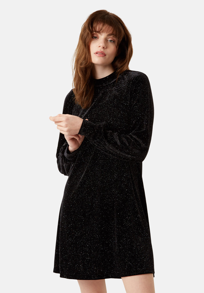 Traffic People Broken String Velvet Long Sleeve Tunic Dress in Black Front View Image
