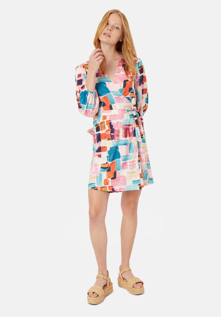 Traffic People Mutiny Printed Mini Dress in Multicoloured Front View Image