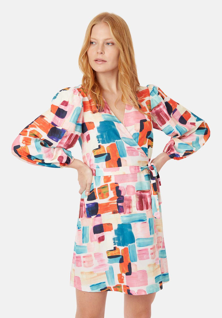 Traffic People Mutiny Printed Mini Dress in Multicoloured Back View Image