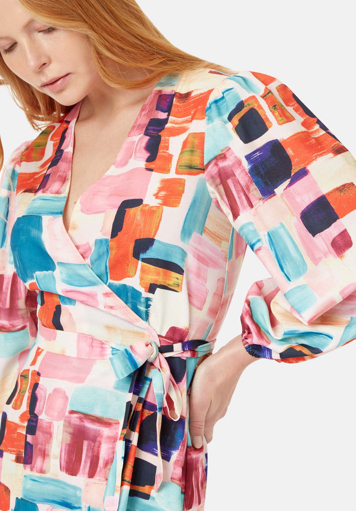 Traffic People Mutiny Printed Mini Dress in Multicoloured Close Up Image