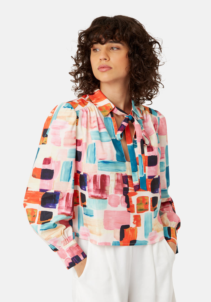Traffic People Maisie Pussy Bow Blouse in Multicoloured Front View Image