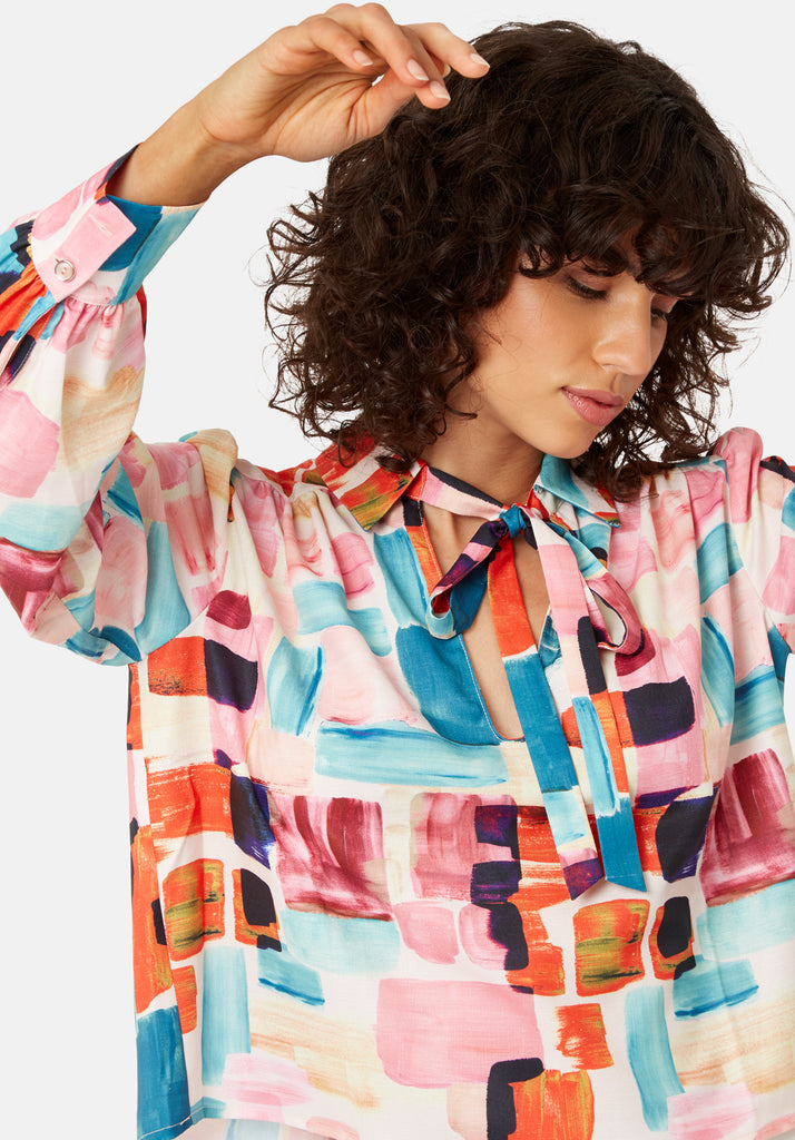 Traffic People Maisie Pussy Bow Blouse in Multicoloured Close Up Image