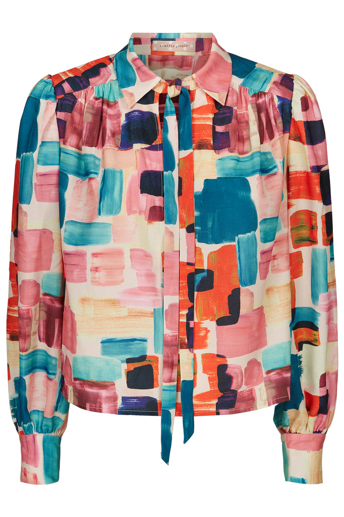 Traffic People Maisie Pussy Bow Blouse in Multicoloured FlatShot Image