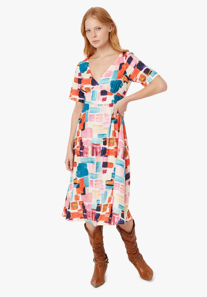 Traffic People Preen Printed V-neck Midi Dress in Multicoloured Front View Image