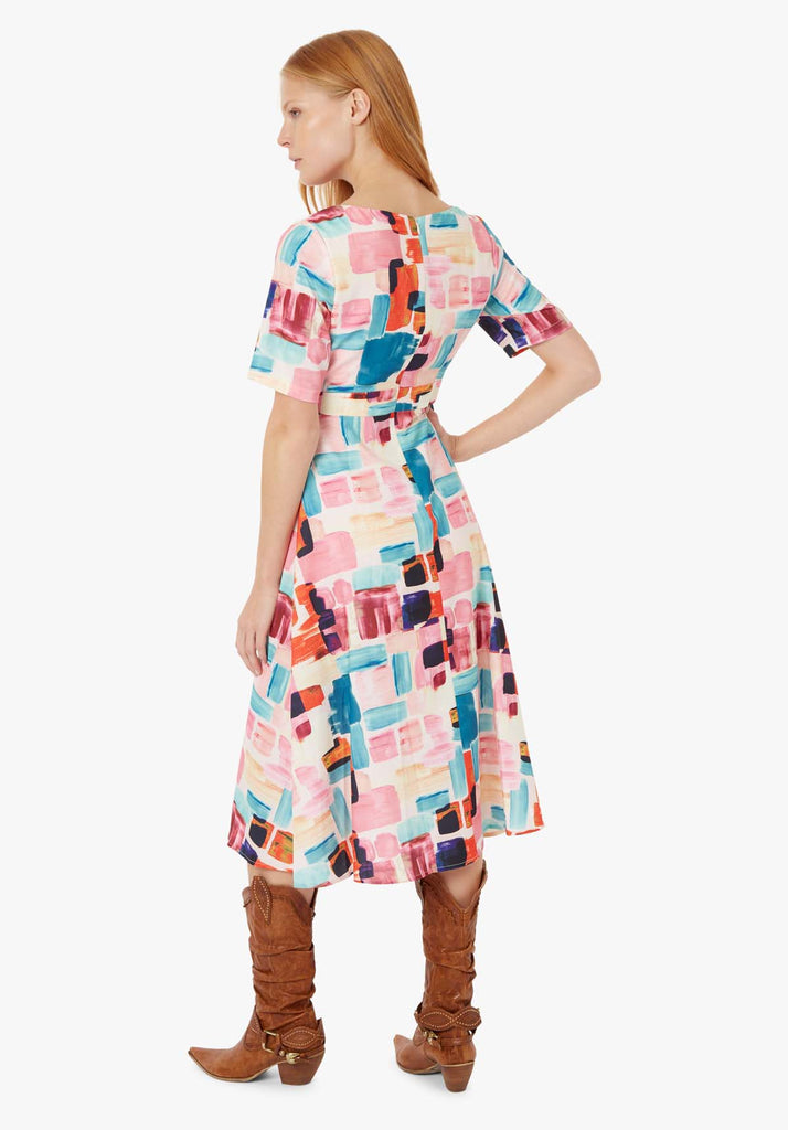Traffic People Preen Printed V-neck Midi Dress in Multicoloured Side View Image