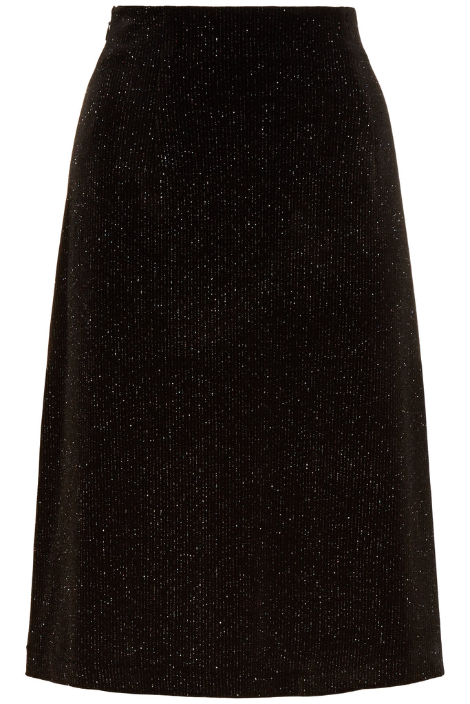 Traffic People Velvet Broken Strings A-Line Midi Skirt in Black FlatShot Image