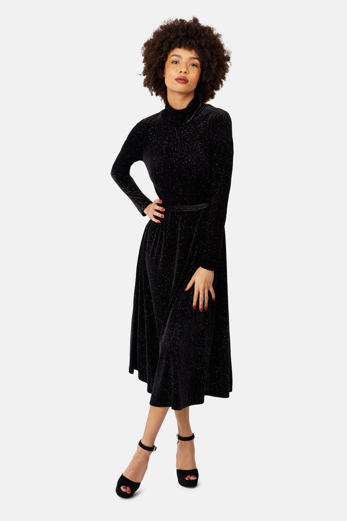 Traffic People Broken Strings Long Sleeve Midi Dress in Black Velvet Back View Image