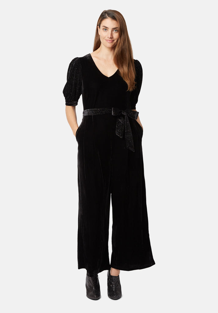 Traffic People Velvet Hetty Wide Leg Jumpsuit in Black Front View Image