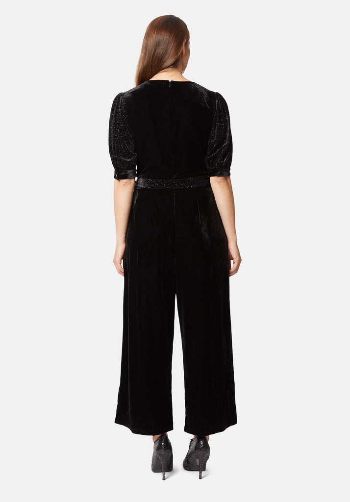 Traffic People Velvet Hetty Wide Leg Jumpsuit in Black Side View Image