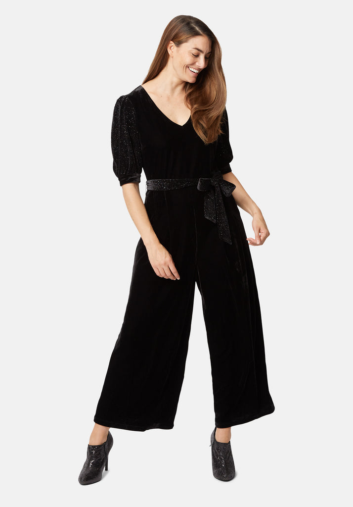 Traffic People Velvet Hetty Wide Leg Jumpsuit in Black Back View Image