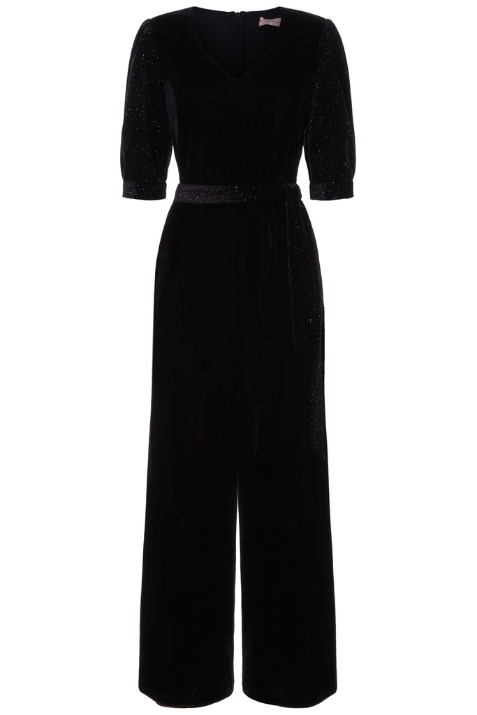 Traffic People Velvet Hetty Wide Leg Jumpsuit in Black FlatShot Image