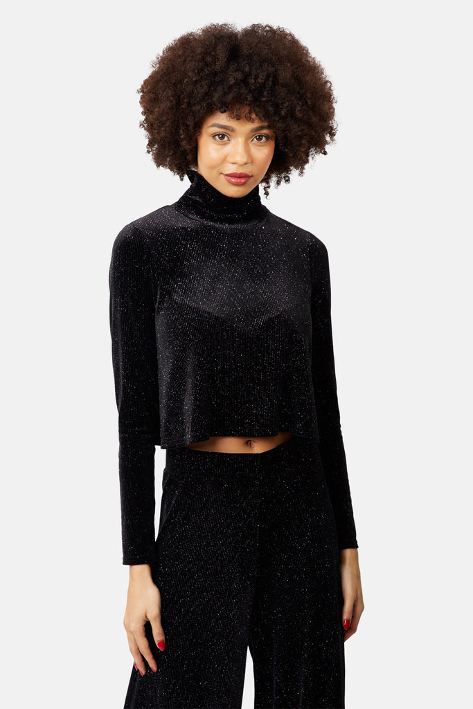 Traffic People Broken Strings Cropped Velvet Top in Black Front View Image