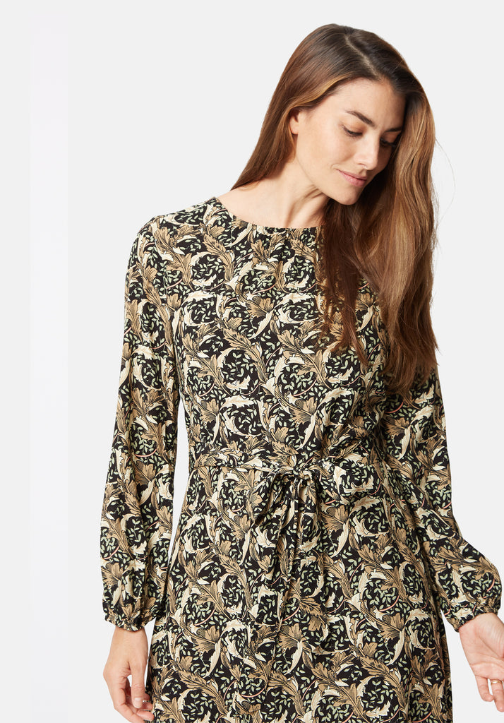 Traffic People Cusp Printed Long Sleeve Mini Dress in Black Close Up Image