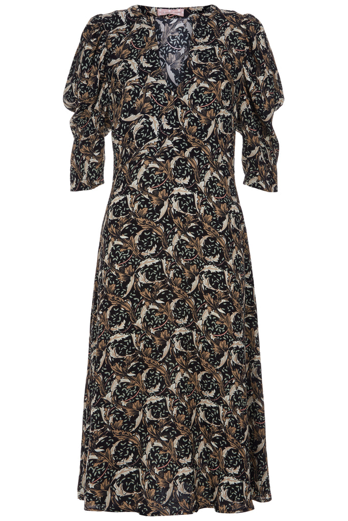 Traffic People V-Neck Fever Midi Printed Dress in Black FlatShot Image