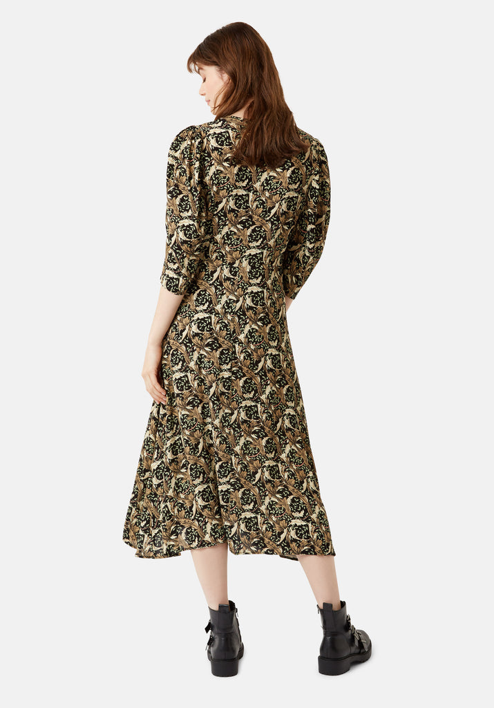 Traffic People V-Neck Fever Midi Printed Dress in Black Side View Image
