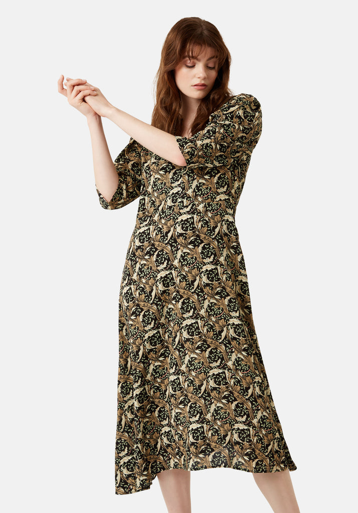 Traffic People V-Neck Fever Midi Printed Dress in Black Front View Image