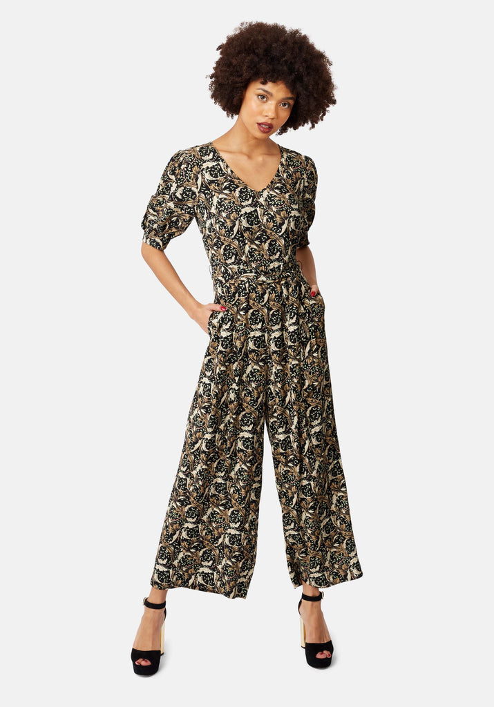 Traffic People Hetty V-Neck Wide Leg Jumpsuit in Floral Print Front View Image