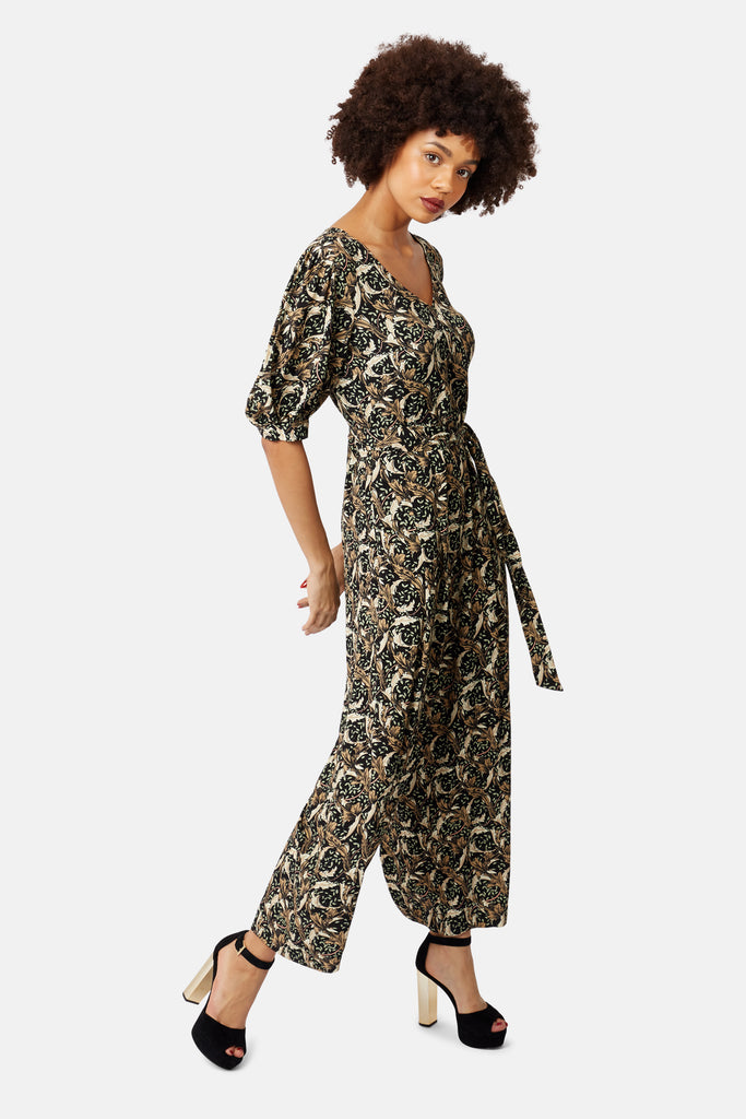 Hetty V-Neck Wide Leg Jumpsuit in Floral Print