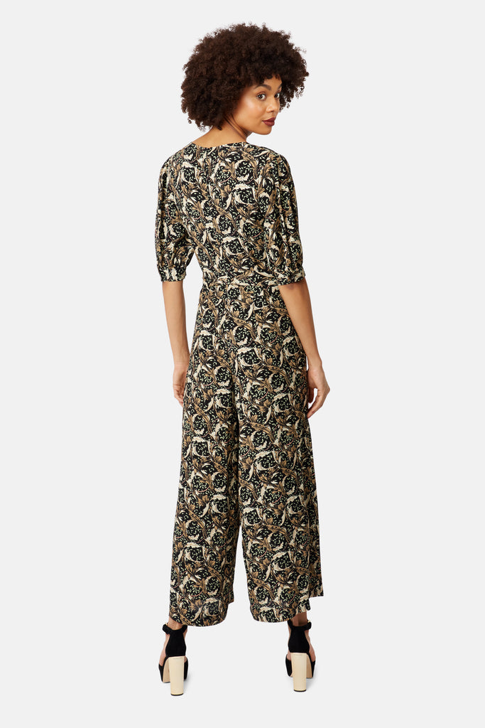 Traffic People Hetty V-Neck Wide Leg Jumpsuit in Floral Print Side View Image