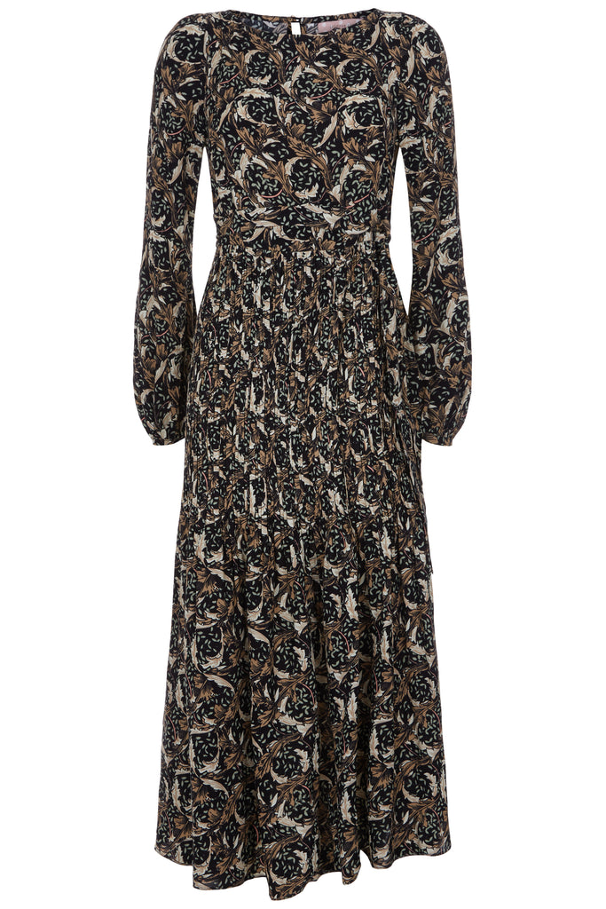 Traffic People Fathom Printed Long Sleeve Maxi Dress in Black FlatShot Image